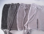 shades of grey baby pants with tie - Newborn - hand knit - newborn photo prop - boy girl pants
