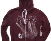 Unisex Tree SLOTH 2 Flex Fleece ZIP Hoody - American apparel (4 Color Options) all sizes xs s m l xl xxl