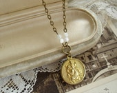 Saint Christopher Medal Necklace in Brass. Catholic Necklace. Christian Jewelry. Religious Necklace. Gifts for Travelers. Safe Traveling.
