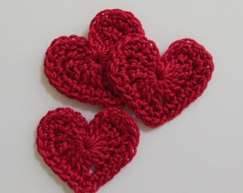 Trio of Crocheted Hearts - Red - Cotton Embellishments - Cotton Appliques - Set of 3