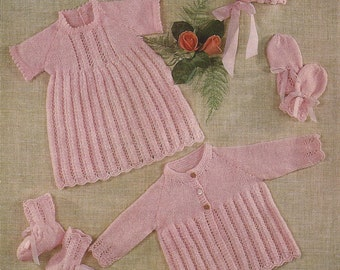 """PDF Knitting Pattern Baby Dress, Coat, Mitts, Bootee and Bonnet to fit 16-20""""  (Q07)"""