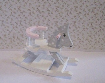 Dollhouse Rocking Pony,  Pink and White, twelfth scale, dollhouse miniature