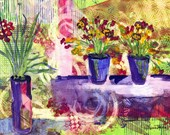 Purple and Lime Abstract Watercolor Print