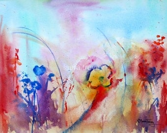 Wildflowers in Watercolor Print