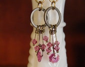 Swarovski Steampunk Brass Earrings Pink Crystals