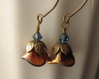 Whiskey Rose Amber Topaz Glass Flower Drop Earrings Antiqued Brass Boho Style Dangle