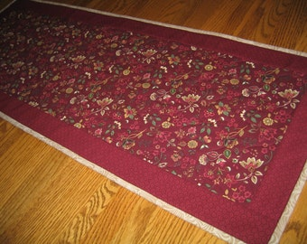 Quilted Table Runner in Maroon Paisley