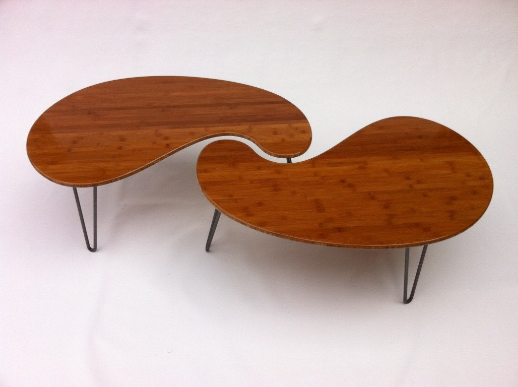 Nesting kidney bean coffee tables mid century modern for Modern nesting coffee tables