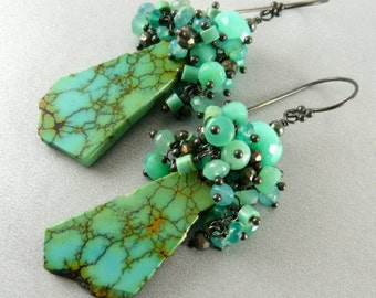 Natural Turquoise Slab And Sterling Silver Earrings