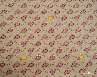 SALE - Cute Owl Brown - Fat Quarter (ma0613)
