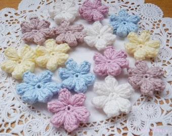 Kawaii Crochet Applique Motif Flowers Set of 15