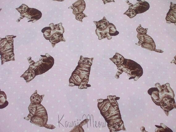 """SALE Kawaii Meow Polka Dots on Pink - Scrap  Half Yard 110cm/43""""W x 60cm/23""""L (ma0613)"""