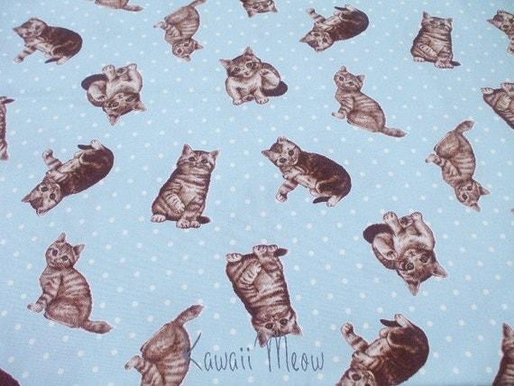 """SALE - Kawaii Meow Polka Dots on Blue - Scrap 110cm/43""""W x 65cm/25""""L (ma0613)"""