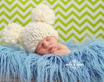 Super Soft Creamy Thick Thin Merino Wool Knit Double Pom ELFIE Newborn Beanie