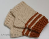 Fingerless Gloves Striped Orange and Cream