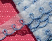 Vintage Lace Trim Organza Embroidered Trim Blue Scalloped