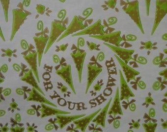 Vintage 1960s Wedding Shower Gift Wrap-Stylish Green Umbrellas 2 Sheets MOD Wrapping paper