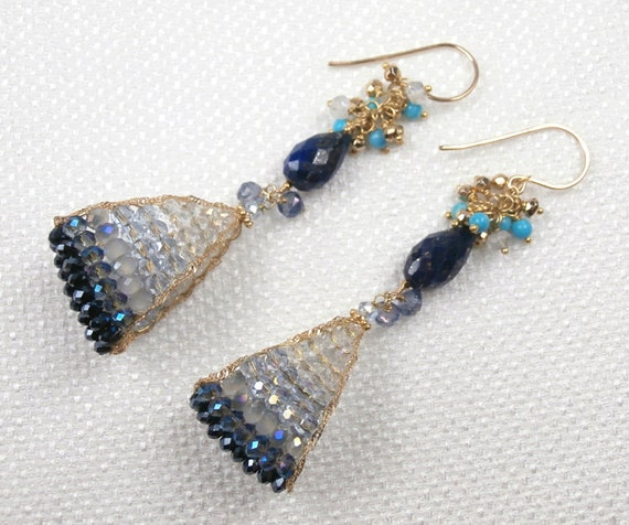 RESERVED for A - Lapis Lazuli Earrings Crystal and Gemstone Cluster Pyrite Turquoise 14kt Gold Fill Dangle Earrings Pyrite Fashion - Edie