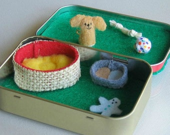 Fluffy dog miniature felt plush in Altoid tin play set