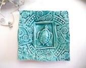 Ceramic Sea Turtle Dish - Plate Spoon Rest Sponge Holder Turquoise