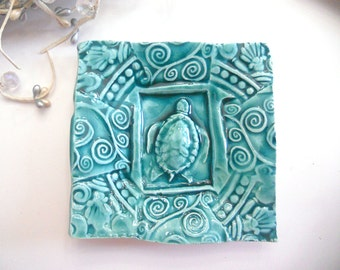 Ceramic Sea Turtle Dish - Plate Spoon Rest Sponge Holder Turquoise