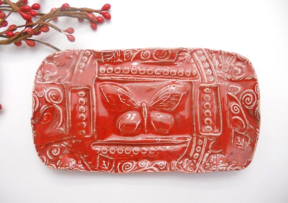 Ceramic Butterfly Soap Dish Ruby Red w feet