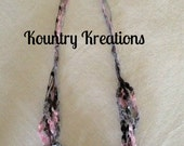Ladder Yarn Necklace/Black, Gray, and Pink Crocheted Ribbon Necklace/Fiber Jewelry/The CLASSY PINK ZEBRA Ladder Necklace (Ready to Ship)