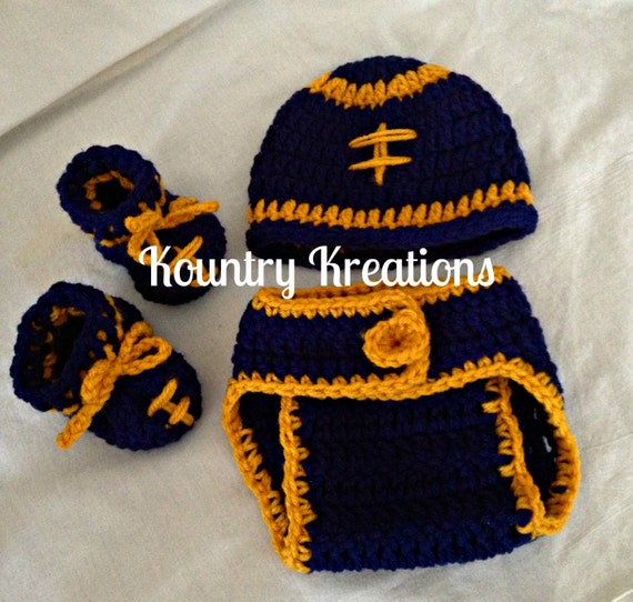 West Virginia Three Piece Set LET'S PLAY Some FOOTBALL Hat/Diaper Cover/Booties (Ready to Ship)
