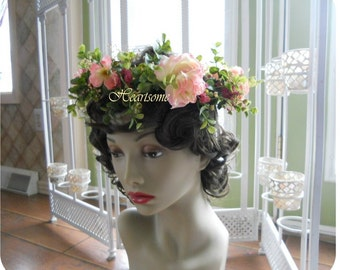 Full head wreath Swedish festival renaissance pink apple blossom rose sale