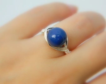 Dark Lapis Pearl Ring  - Size 6 - Swarovski Pearl, Blue, Lapis, Gala, Sky, Celestial, Nautical, Night, Cute, Classic, Romantic, Lovely