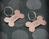 Dog Bone Dog Tag--Copper--Custom Stamped Just for YOU and Your Pup