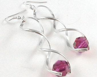 Earrings Silver Twisty and Fuchsia Swarovski