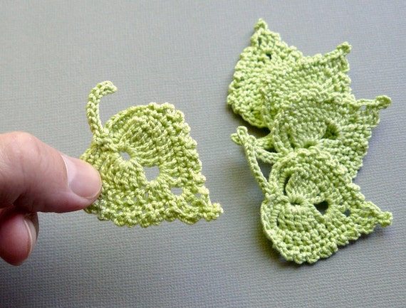 Crocheting Leaves : Crochet Leaf Appliques Lime Green Birch Leaves by CaitlinSainio