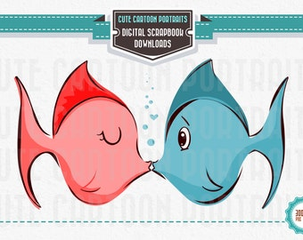 Instant Download - Kissing Fish- Clip Art Collage Sheet - Cute Fish in Love