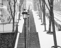 Paris Photography, Snowy morning in Montmartre, winter photography, Paris in the snow, black and white art, Winter in Paris, Christmas