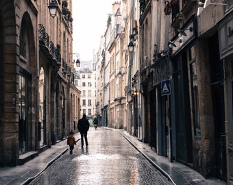 Paris Photography, Afternoon Sparkle, Paris in the rain, Rain soaked cobblestone paris streets, Paris Decor, Art for him, father and son