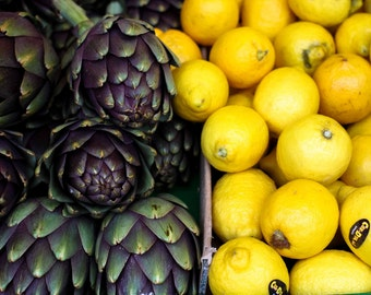 Food Photography - Paris Market Days - Purple Artichoke, Lemon Yellow, Paris, France, kitchen wall art, paris kitchen decor, paris art