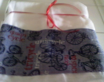 Flour Sack Towel with Vintage Bicycles Fabric Strip