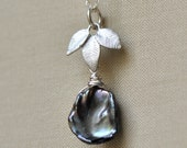 Grey Skies Keshi Pearl Necklace, Leaf Charm, Sterling Silver, Nature Necklace