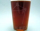 Etched Pint Glass Zodiac Stargazer Constellation - Libra