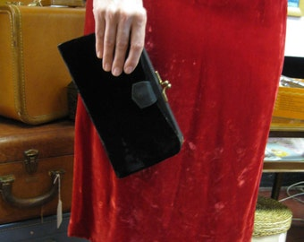 1940s Black Velvet 3-Way Clutch Purse - Convertible from Black to Gold