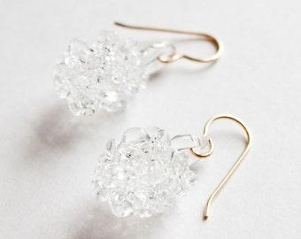 Glass Cluster Ball Earrings - Clear