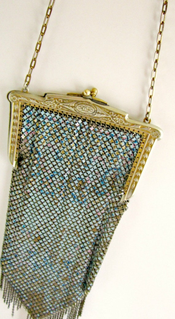Antique Mesh Purse With Roses Mandalian Blue Enamel Mesh Purse