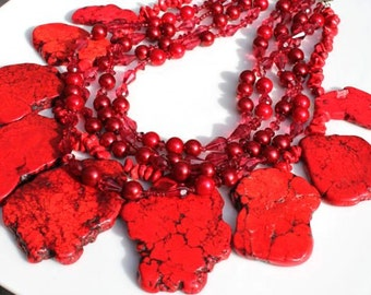 Red Turquoise Howlite Stones with glass pearls and vintage beads handmade necklace
