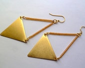 Peach and brass triangle earrings, statement
