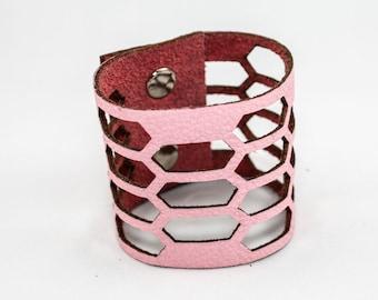 SALE Leather Cuff Bracelet - Facet Cutouts (Bubblegum Pink) - Size Small