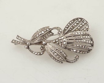 SUPER SALE --- Exceptional Quality Antique Art Deco Belgium .835 Silver and Real Marcasite Flower Brooch