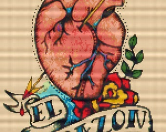 Anatomical Heart,  Tattoo Cross Stitch Kit, 'El Corazon',  Illustrated Ink, Loteria Needlecraft Kit, Counted Cross Stitch, Illustration