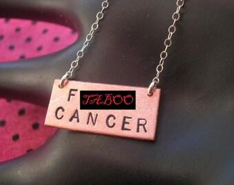 Breast Cancer Gifts, Cancer Survivor, Remission, F Cancer Necklace, Fuck Cancer Necklace, Hand Stamped Necklace, Copper Rectangle, MATURE