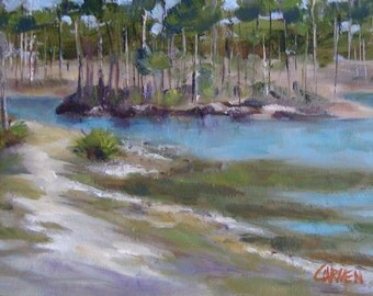 Piney Island, 5x7, Original Oil Daily Painting